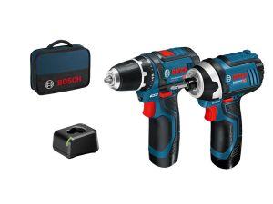 Bosch 06019A6979 GDR12 & GSB12V Twin Kit 12V - 2 x 2.0Ah Batteries & Bag