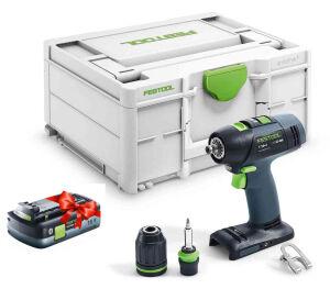 Festool 577051 18V Cordless Drill T18 + 3 -Basic + FOC 4.0Ah Battery