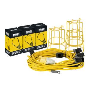 22M Festoon Lighting Kit 110V ES C/W Guards & Lamps