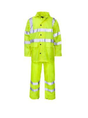 Hi-Vis PVC Rain Jacket & Trousers - Yellow - Large