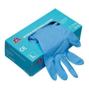 Disposable Nitrile Powder Free Gloves - Pack of 100 - Size Large