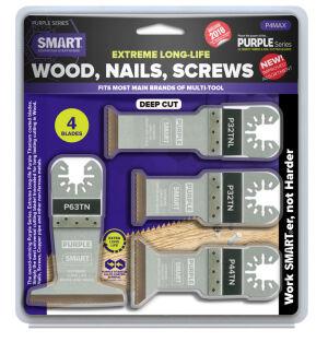 Smart P4MAX Purple Series - 4 Piece Titanium Alloy Bi-Metal Blade Set - Wood/Metal/Plastic