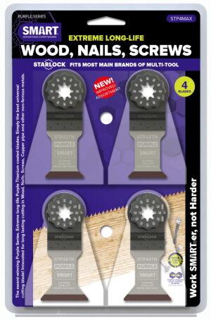 Smart STP4MAX Purple Series - 4 Piece Titanium Alloy Bi-Metal Blade Set - Wood/Metal/Plastic