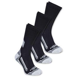 Carhartt Force Work Crew Sock - 3 Pair Pack - Black - Large