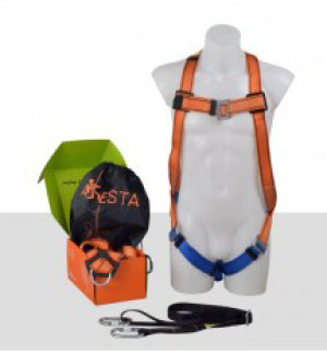 Aresta Single Point Safety Harness - Standard Buckle, 2m Webbing Lanyard, 2 x Carabiners & Pump Bag
