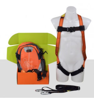 Aresta Single Point Safety Harness - Eeze-Klick Buckle, 2m Webbing Lanyard, 2 x Carabiners & Backpack