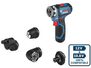 Bosch GSR 12V-15 FC Set Flexi Click Drill Driver 2 x 2.0Ah Li-Ion Batts & L-Boxx