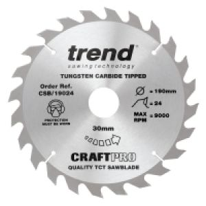 Trend CSB/19024 Craft Pro Saw Blade 190mm Diameter - 30mm Bore - 24 Tooth