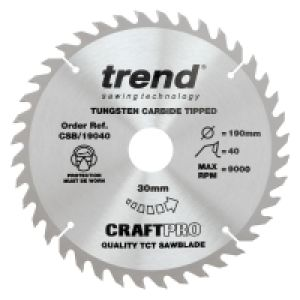 Trend CSB/19040 Craft Pro Saw Blade 190mm Diameter - 30mm Bore - 40 Tooth