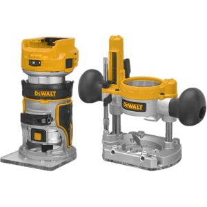 "DeWalt DCW604NT 18V XR Brushless 1/4"" Router/Trimmer - Bare Unit with Extra Bases"