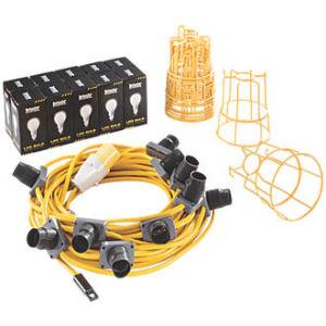 22m Led Festoon Kit 110V 10 Lights C/W Chain, Bulb Holders and Guards