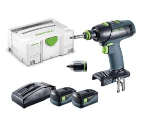 Festool 18V Drills T 18 3 Li 5.2 Plus 2 x 5.2Ah Batteries in Systainer 2