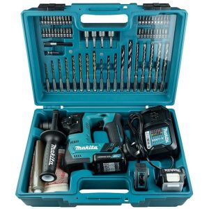 Makita HR140DWAE1 12V Max CXT Rotary Hammer SDS+ PLUS 2 x 2.0 Batteries & 65 Piece Accessory Set