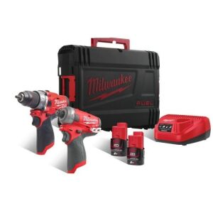 Milwaukee M12FPP2AQ-202X Twin Pack inc 2 x 12V 2.0Ah Red Lithium Batteries