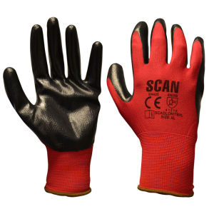 Scan Red Nitrile Palm Dipped Gloves 13g - Size 9 (L)