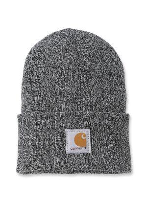 Rib Knit Beanie Hat - Black & White - One Size