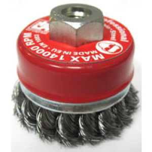 M14 x 100mm Twist Knot Tapered Flat Wire Brush